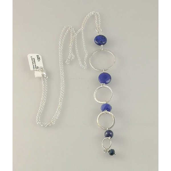 Silver long navy 5 stones  necklace 068