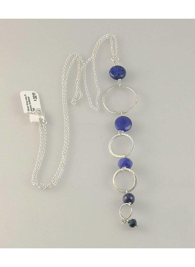 Silberne lange Marinekette mit 5 Steinen 068