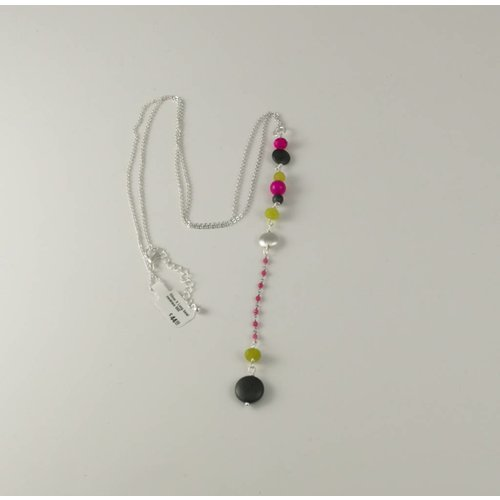 Ladies Who Lunch Silver X  Long bead necklace 060