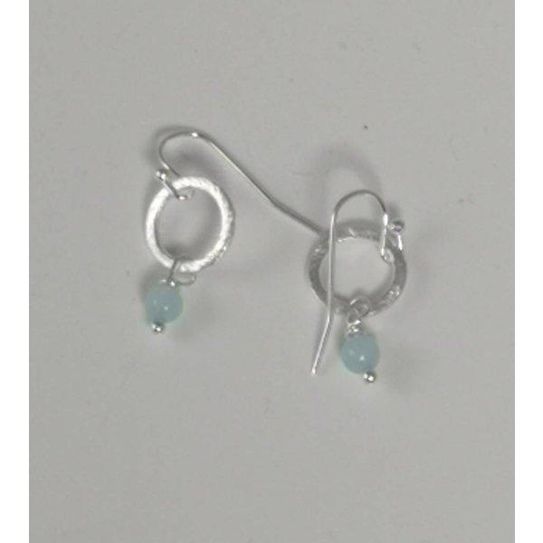 Silberring und hellblauer kleiner Tropfenohrring 043