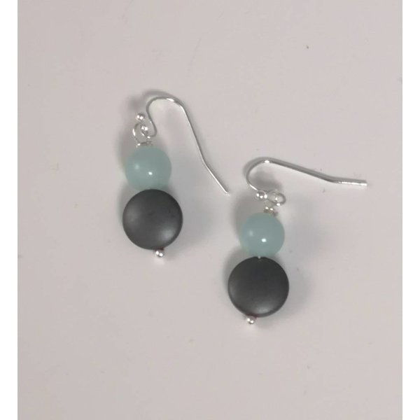 Duck egg and hmatite drop earring  040