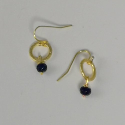 Ladies Who Lunch Gold circle and navy tiny drop earring  042
