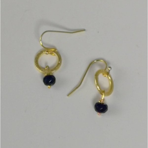 Gold circle and navy tiny drop earring  042