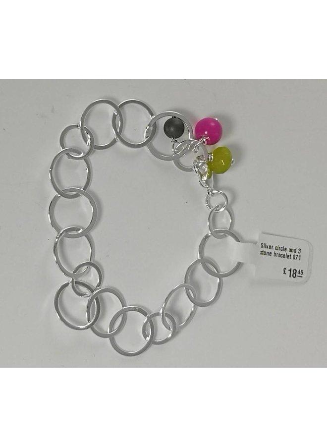 Silberkreis und Armband mit 3 Steinen 071