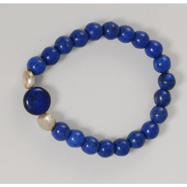 Blue silver semi precious stretch bracelet 074