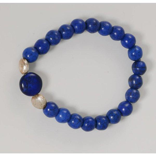Pulsera elástica semi preciosa azul plata 074
