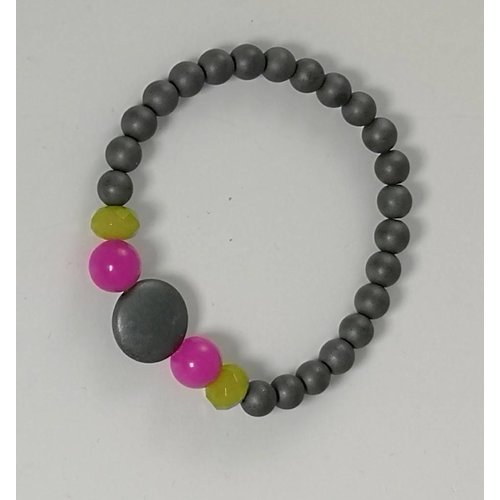 Ladies Who Lunch Grey pink green stretch  bracelet 084