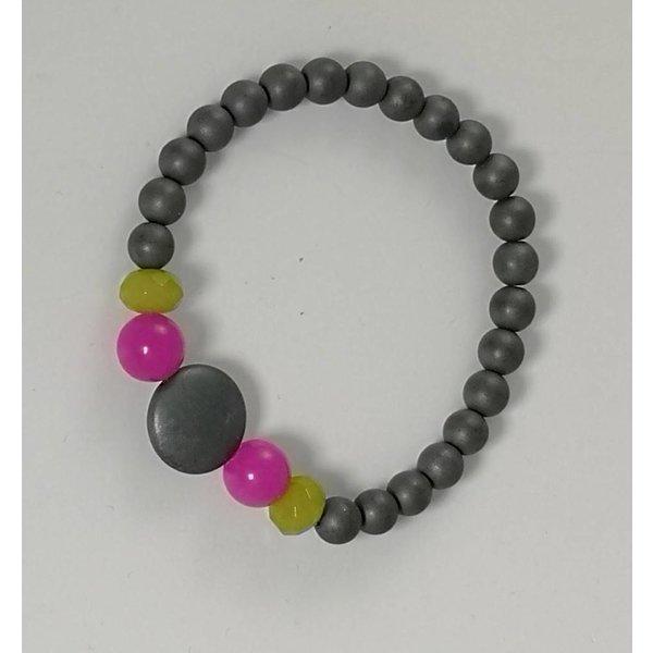 Pulsera elástica gris rosa verde 084