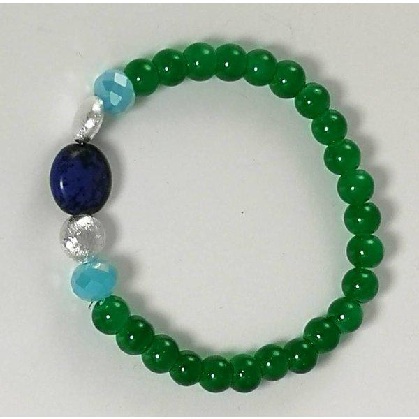 Green blues silver stretch bracelet 082