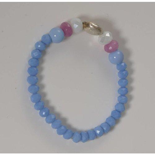 Ladies Who Lunch Lilac white semi precious stretch bracelet 086