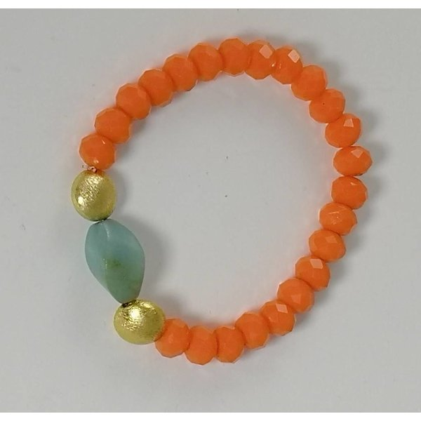 Orange blue gold  semi precious stretch bracelet 077