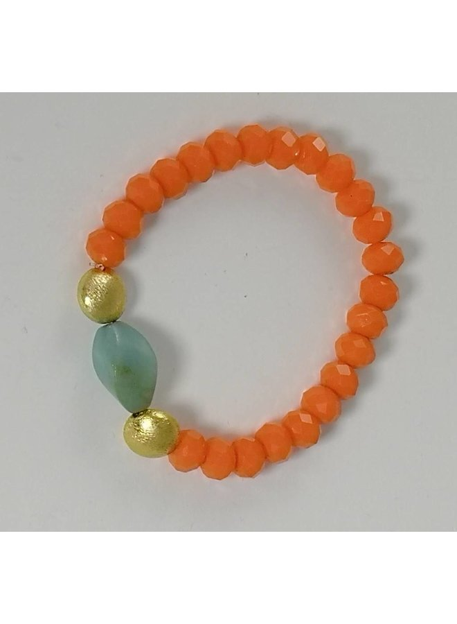 Stretcharmband 077 aus orangefarbenem, halbgoldem Gold