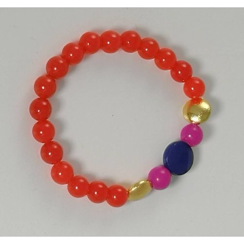 Ladies Who Lunch Orange blue gold pink  stretch bracelet 078