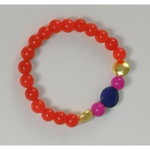 Pulsera elástica naranja azul oro rosa 078