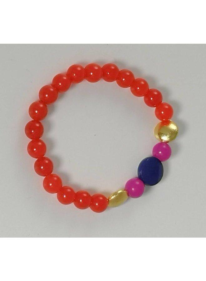 Stretch-Armband 078 aus orange-blauem, gold-rosa Stretch