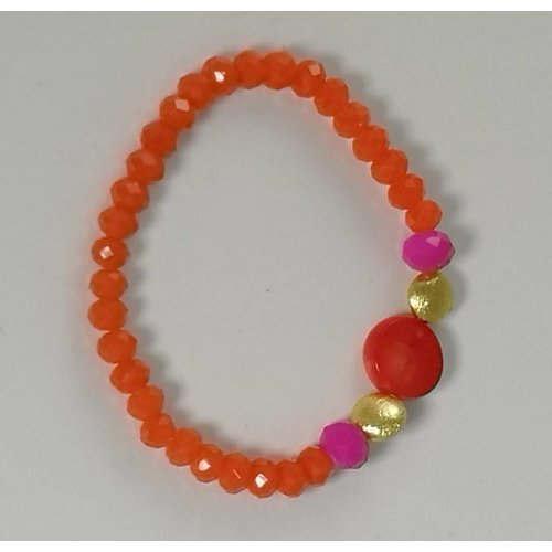 Ladies Who Lunch Orange pink gold  semi precious  stretch bracelet 076