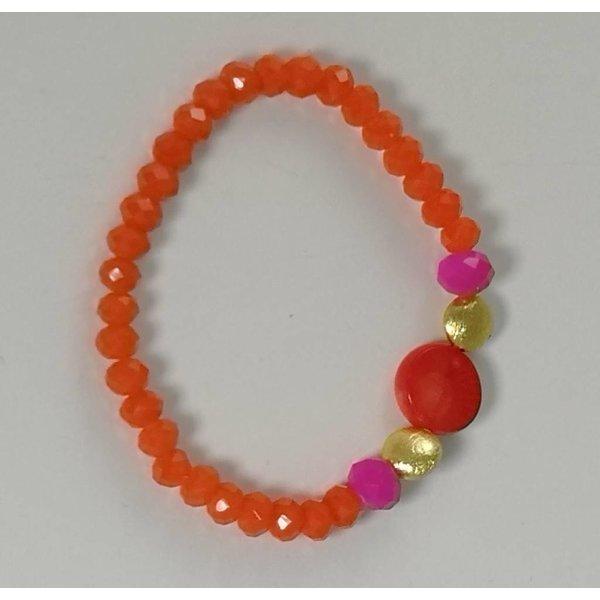 Orange pink gold  semi precious  stretch bracelet 076