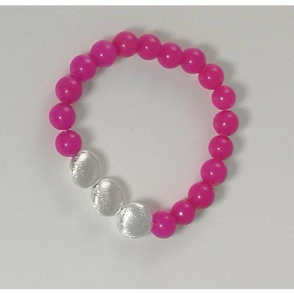 Pink 3 silver stretch bracelet 079