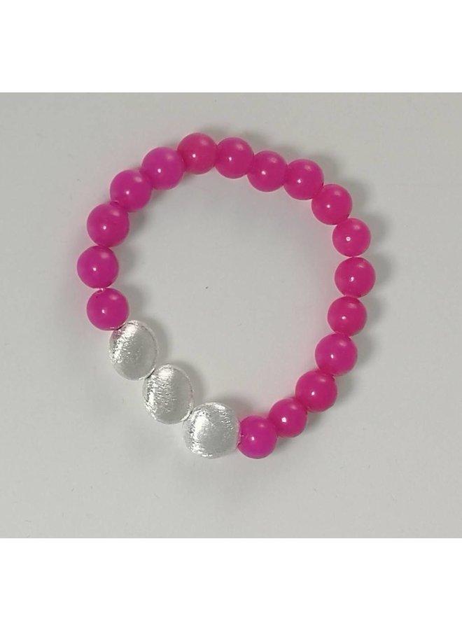 Pink 3 Silber Stretch Armband 079