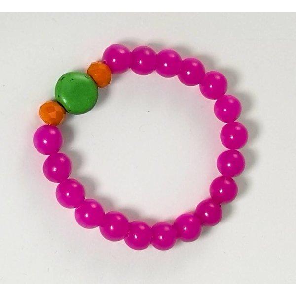 Pink green orange stretch bracelet 080