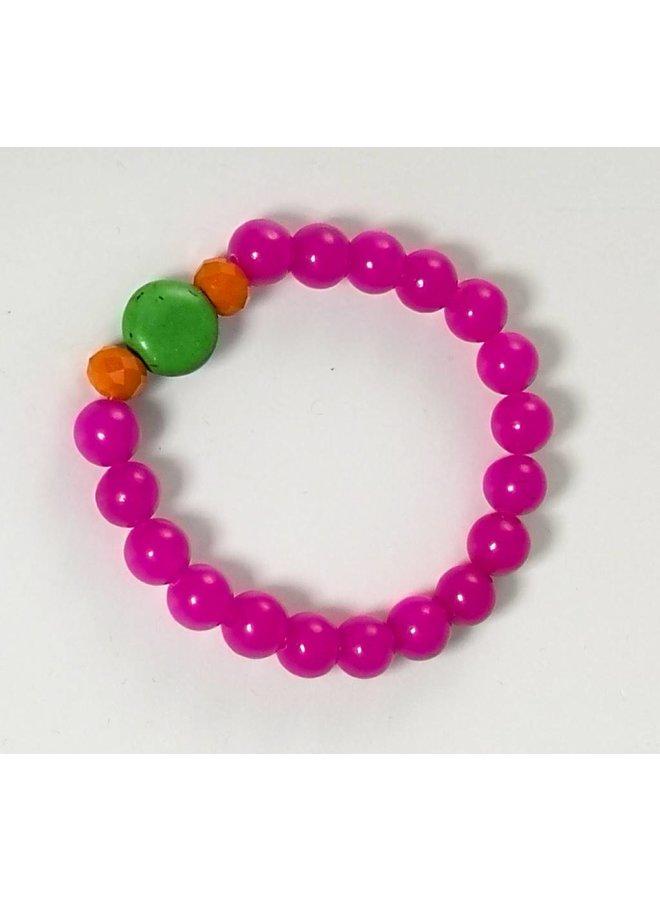 Stretcharmband 080 in Pink, Grün und Orange