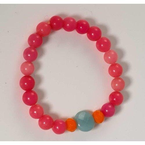 Ladies Who Lunch Pink orange semi precious stretch bracelet  073