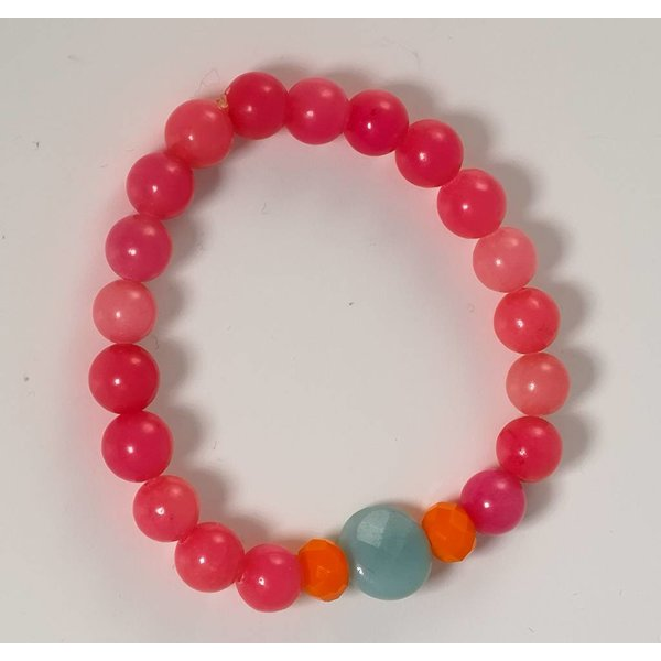 Pink orange semi precious stretch bracelet  073