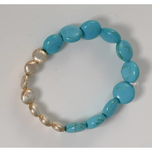 Ladies Who Lunch Turquoise semi precious stretch bracelet 075