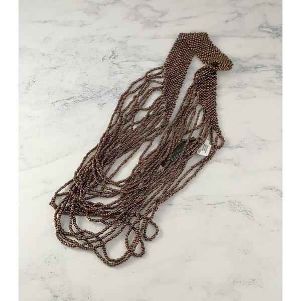 Collar de perlas de vidrio en cascada de cobre 046