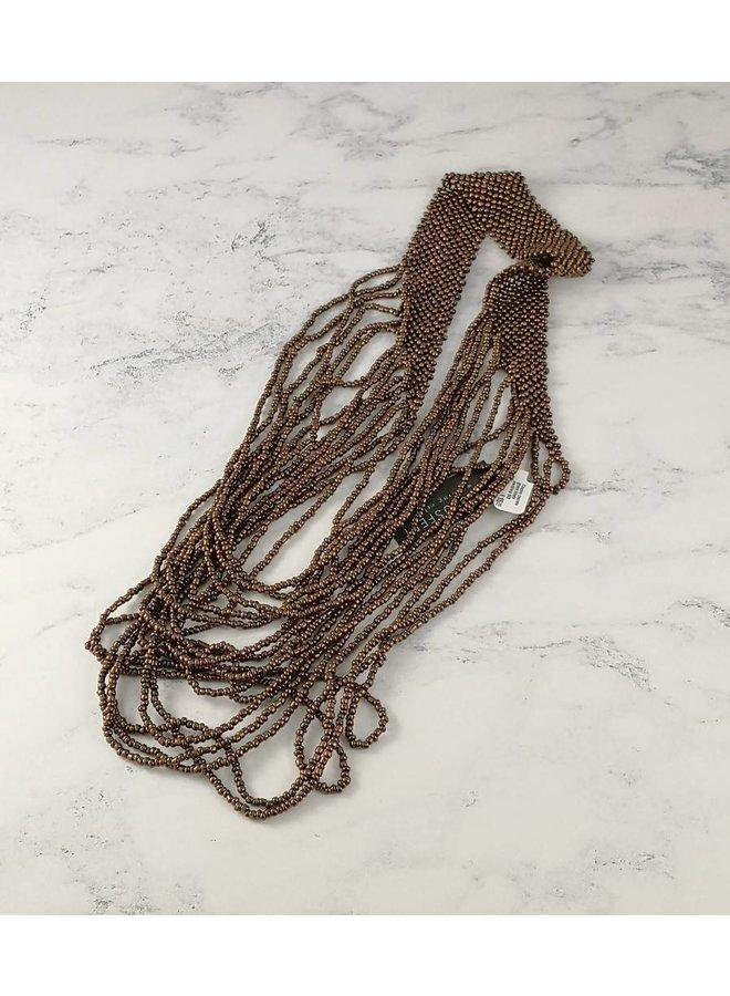 Halskette aus Kupferkaskadenglasperlen 046