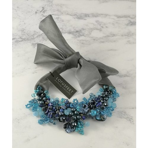Lotus Feet Blue crystal bead satin tie necklace 052