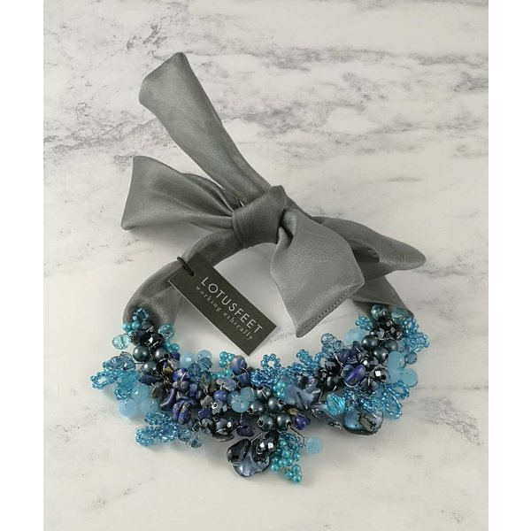 Blue crystal bead satin tie necklace 052