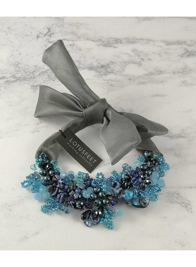 Blue crystal bead satin tie necklace 052
