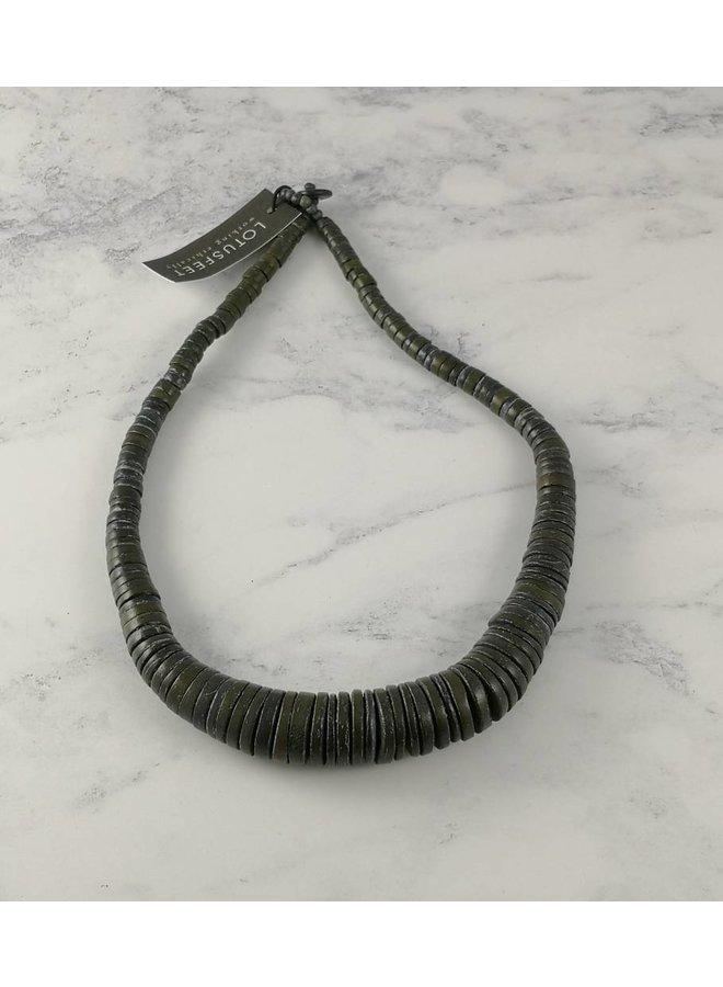 Dunkelgrau Graduierte Kokosscheiben-Halskette 054