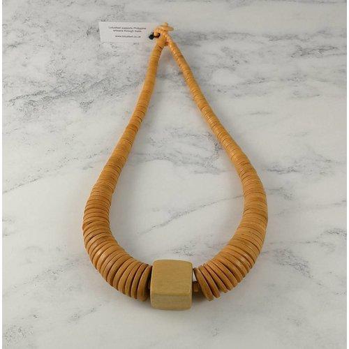 Lotus Feet Senfkreis und quadratische Halskette aus Kokos 064