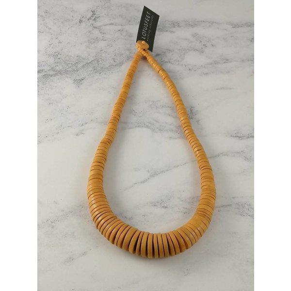 Senf Graduierte Kokosscheiben-Halskette 059