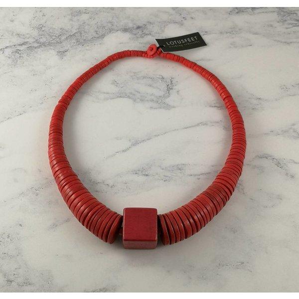 Orangefarbener Kreis und quadratische Coco-Halskette 062