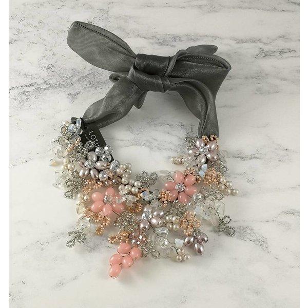 Pink beaded satin  tie necklace 050