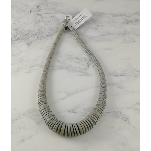 Lotus Feet Pale Grey  Graduated coco disc necklace 056