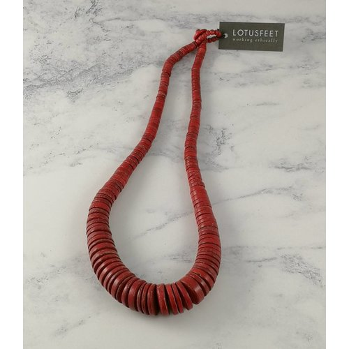 Lotus Feet Red Graduated coco disc necklace 061