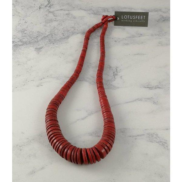 Rote graduierte Kokosscheiben-Halskette 061