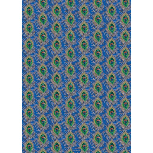 The Art File Peacock Feather Blue and gold gift wrap 03