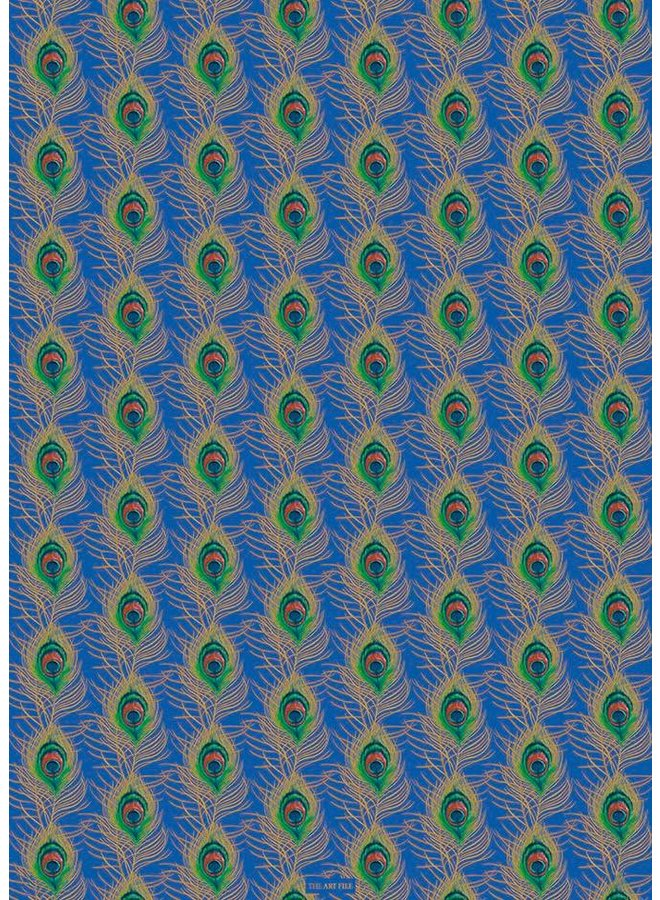 Peacock Feather Blue and gold gift wrap 03