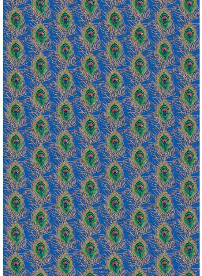 Pfauenfeder Blau und Gold Geschenkpapier 03
