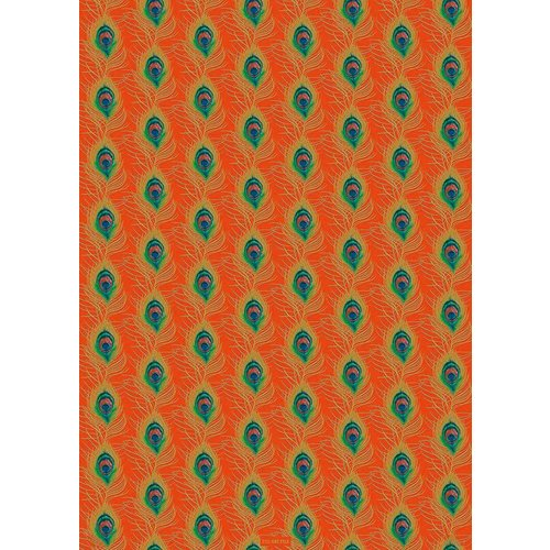 The Art File Peacock feather orange and gold gift wrap 04
