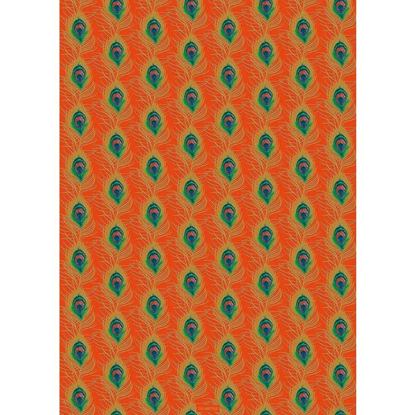 Peacock feather orange and gold gift wrap 04