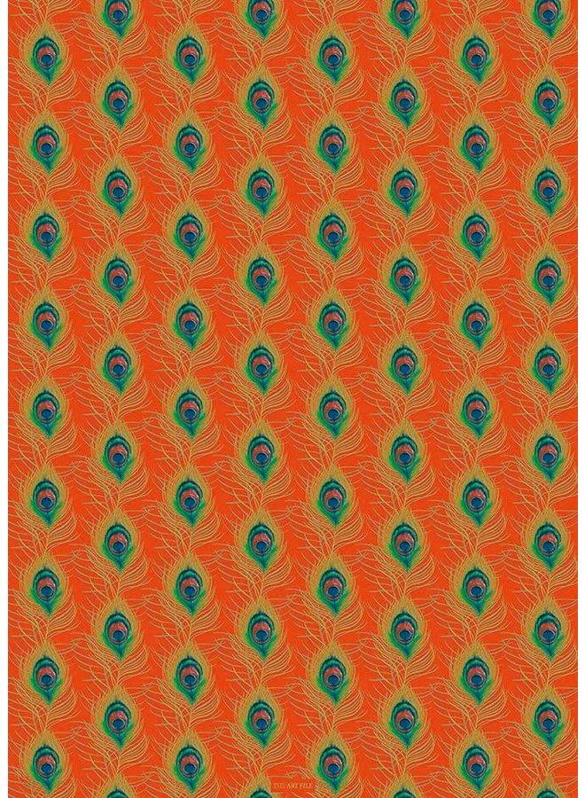 Pfauenfeder orange und goldene Geschenkverpackung 04