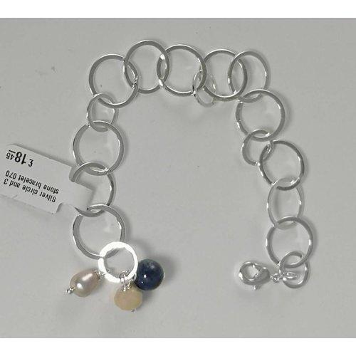 Ladies Who Lunch Silberkreis und Armband mit 3 Steinen 070