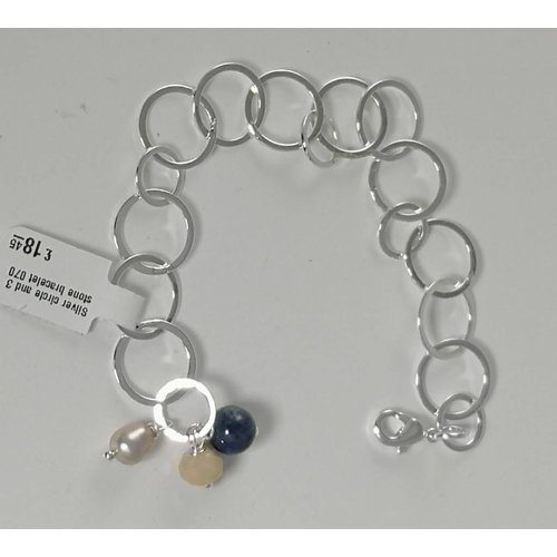 Ladies Who Lunch Silver circle and 3 stone bracelet  070