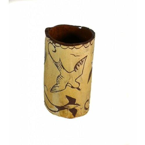 Glandwyryd Ceramics Birds in flight Slipware vase  006